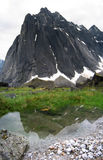 Huey Spire. East Huey spire in the cirque of the unclimbables reflected in a pool Royalty Free Stock Image
