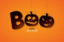 Huez, conception heureuse de Halloween avec le lettrage de typographie sur le fond orange Calibre de conception de vacances de ve illustration stock