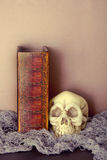 Huez et crâne avec le livre de Halloween des charmes noirs et blancs Photographie stock