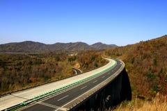 Hufeng山高速桥梁 图库摄影