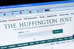 The Huffington Post. Palm Springs, USA, April 11, 2011: A screen capture of The Huffington Post, an online newspaper, blog, and video site. Page accessed is Royalty Free Stock Image