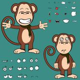 Hug ape cartoon expressions set. Monkey cartoon expressions set in vector format very easy to edit Stock Image