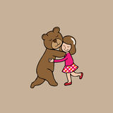Hug bear and girl. Hug girl and brown bear cartoon vector vector illustration