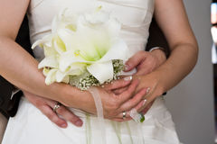 Hug the bride royalty free stock photo