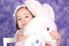 Hug the Bunny. Baby Hugs (easter) Bunny Stock Images