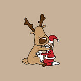Hug Christmas reindeer and Santa Royalty Free Stock Photo