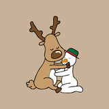 Hug Christmas Reindeer and Snowman Stock Image