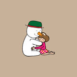 Hug Christmas Snowman and girl Stock Photography