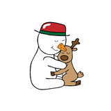 Hug Christmas Snowman and reindeer Royalty Free Stock Photo