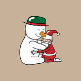 Hug Christmas Snowman and Santa Royalty Free Stock Photography