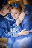 Hug, couple,  jeans Stock Image
