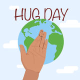 Hug day january. 21st. Hand and Earth. Hugging day. Flat  stock illustration Stock Photo