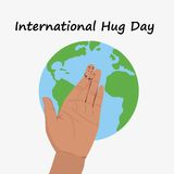 Hug day january. 21st. Hand and Earth. Hugging day. Flat  stock illustration Royalty Free Stock Image