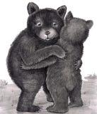 Hug de urso. Dois ursos que abraçam para fora na natureza ilustração stock