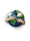 Hug earth. Two male hands hugging earth Stock Photography