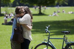 Hug in Englisher Garten in Munich stock photo