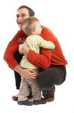 The Hug - Father and Son. Over white background Stock Photography