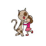 Hug gir and cat Royalty Free Stock Photo