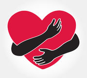 Hug the heart , love yourself symbol. EPS10 Royalty Free Stock Images