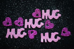 Hug and Hearts. Stock Photo