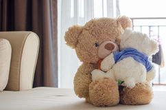 Hug of love. Big bear hug little bear Royalty Free Stock Image