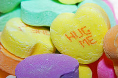 Close up of a Hug Me Candy Heart Stock Photos