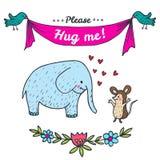 Hug me card with elephant and hedgehog Royalty Free Stock Photos