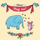 Hug me card with elephant and hedgehog Royalty Free Stock Photo