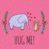 Hug me card with elephant and hedgehog Royalty Free Stock Photography