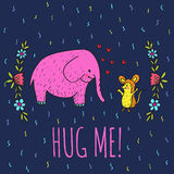 Hug me card with elephant and hedgehog Stock Images