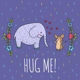 Hug me card with elephant and hedgehog Stock Photo