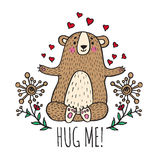 Hug me card with teddy bear. Vector illustrated card Stock Images