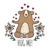 Hug me card with teddy bear Stock Images