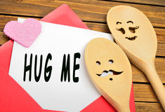 Hug me words Royalty Free Stock Photo
