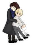 Hug pair man anime manga kawaii chibi cartoon Stock Images