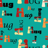 Hug Pattern. Seamless pattern with abstract hugging people and the word hug, for celebrating Hug Day Royalty Free Stock Photography