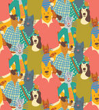 Hug pets dogs and cats friendship crowd seamless pattern friends. Color vector illustration. EPS8 Stock Image