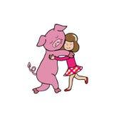 Hug Pig and girl. Hug girl and pig cartoon vector Stock Image