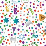 Hug Purim colorful seamless pattern. Colorful seamless pattern with objects for the Jewish holiday Purim ball mask carnival, Patty, ratchet, Jewish star, a Stock Photos