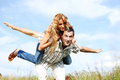Hug in sky Royalty Free Stock Images