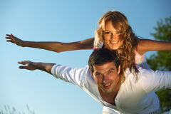 Hug in sky. Man and woman hug in the sky Royalty Free Stock Photography