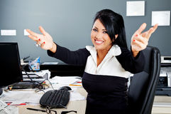Hug smile latino businesswoman Royalty Free Stock Photo