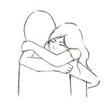 Hug women and someone in line art drawing illustration; love and secure in embrace Stock Photography