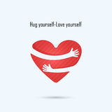 Hug yourself logo.Love yourself logo.Love and Heart Care logo. Royalty Free Stock Images