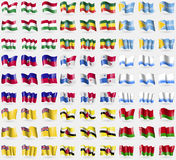 Hugary, Ethiopia, Tuva, Haiti, Panama, Altai Republic, Niue, Brunei, Belarus. Big set of 81 flags. Stock Photos
