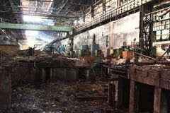 Huge abandoned factory premises Royalty Free Stock Photo