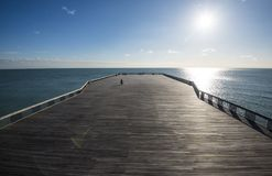 The huge activity space on the award-winning Hastiings Pier in East Sussex, England. After the old pier burned, it was decided to renew it with a modern design stock image