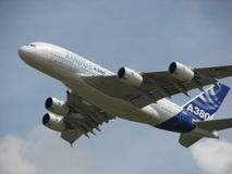 Huge Airbus A380 Super Takeoff. Stock Photo