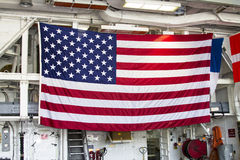 Huge American flag inside the deck of US Navy destroyer during Fleet Week 2012 Royalty Free Stock Photos