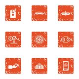 Huge amount of money icons set, grunge style. Huge amount of money icons set. Grunge set of 9 huge amount of money vector icons for web isolated on white Stock Photos